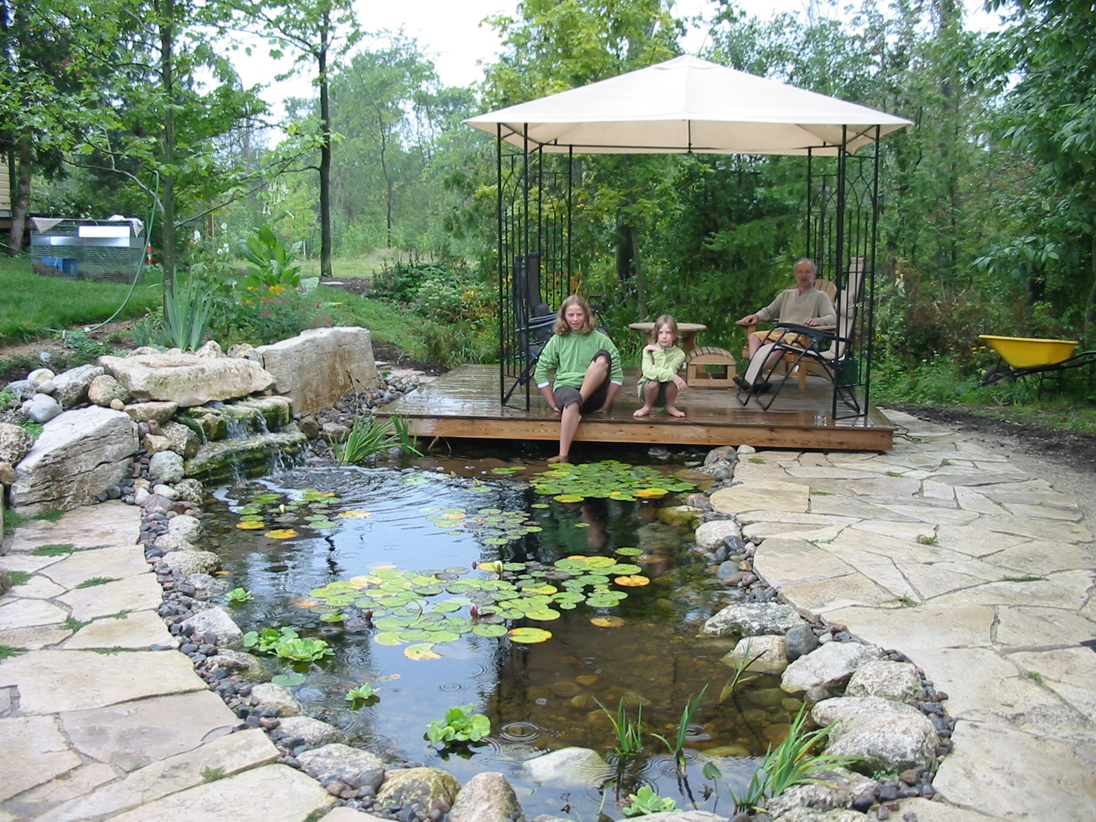 Ponds and waterfalls robin aggus natural landscaping for Yard ponds and waterfalls