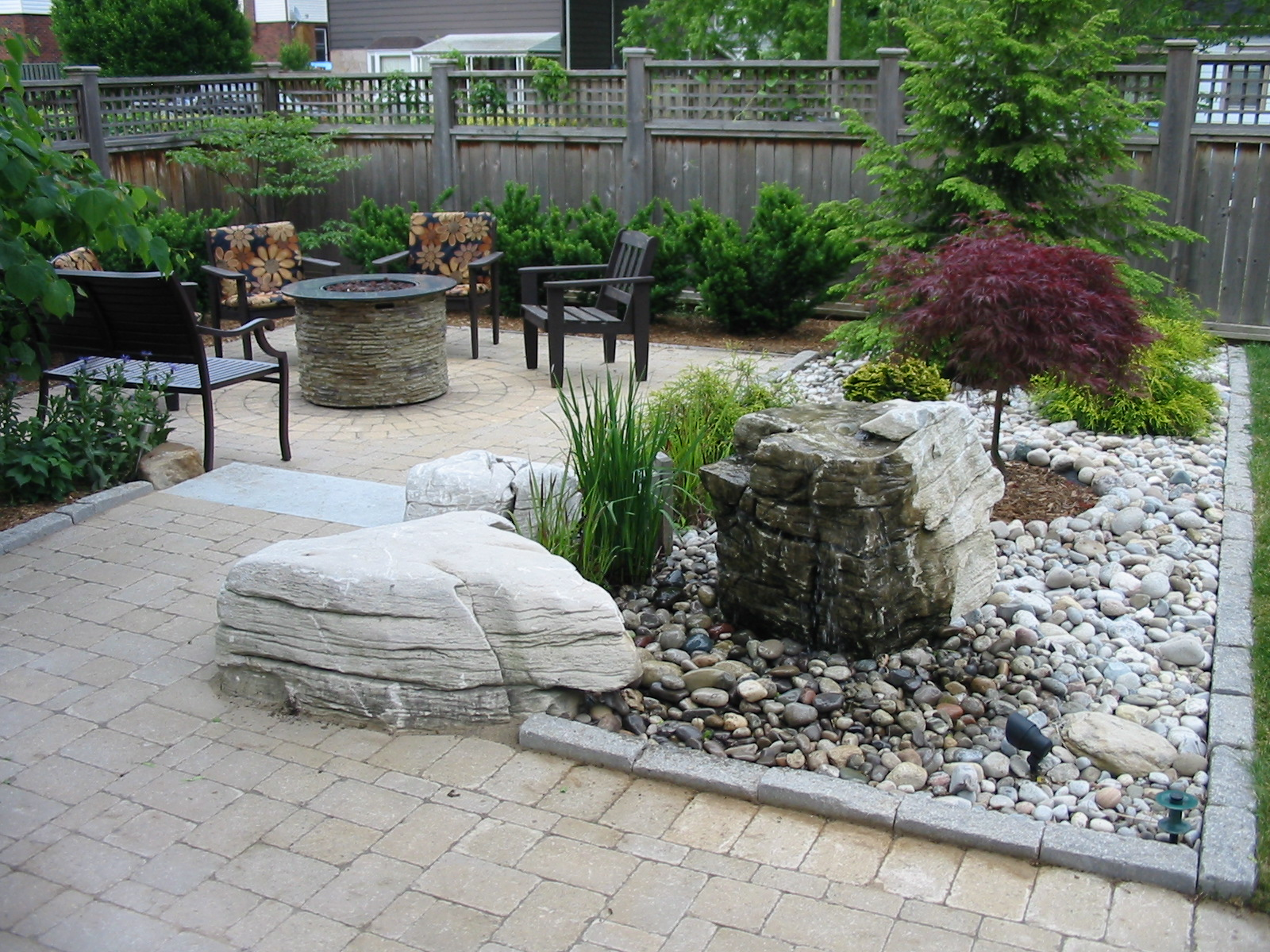 Bubbling rock in patio
