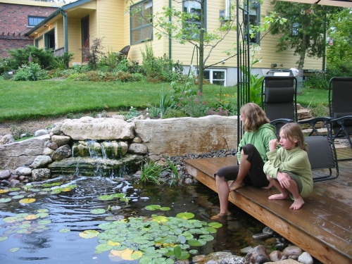 Falling water, fish, frogs and kids