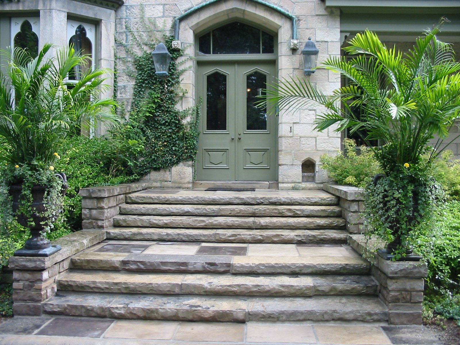 New limestone steps over a full concrete foundation
