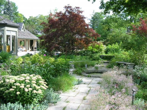 Stone garden path with stone lily pond