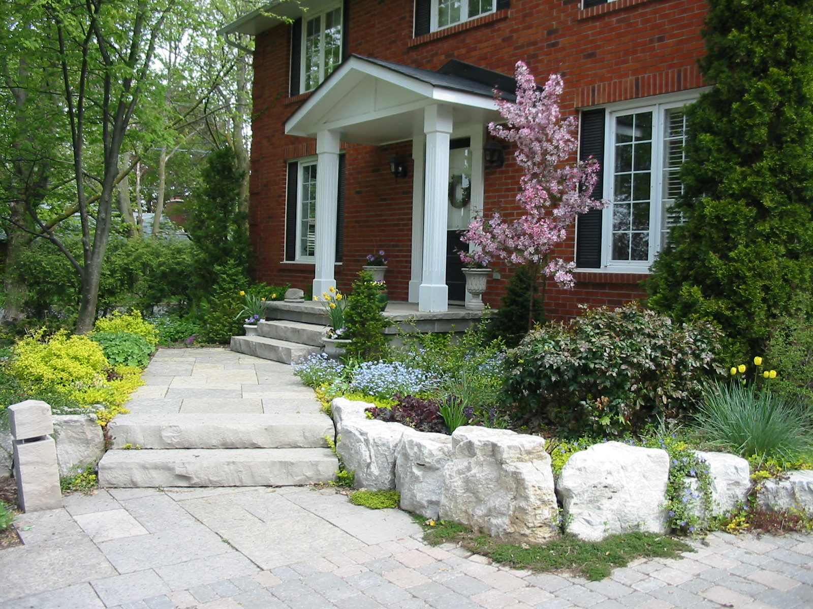 Solid natural stone steps and natural stone walkway