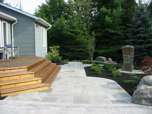 Square cut stone walkway