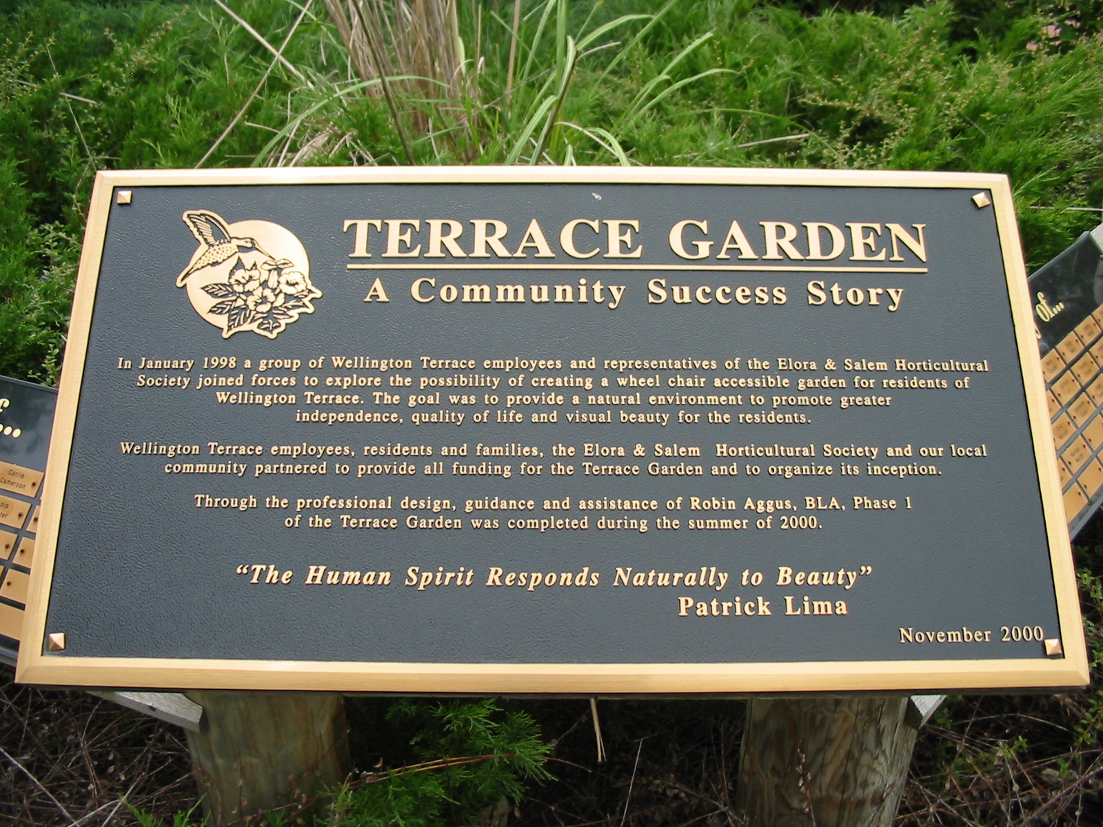 Plaque for the Wellington Terrace Garden