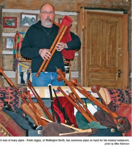 A man of many pipes - Robin Aggus, of Wellington North, has numerous pipes on hand for his musical endeavors.